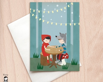 Lil' Red & Wolf Date Night Blank Card