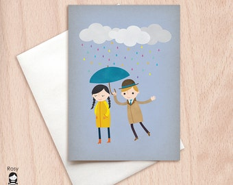 Rainy Day Card, Blank Love Card, Cute Valentine Card, Anniversary Card, Greeting Card, I Love You Card, Birthday Card, Blank Valentine Card