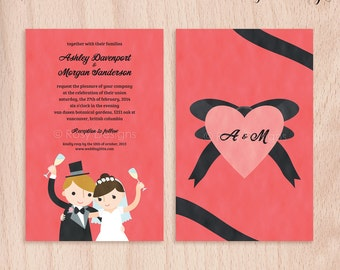 Custom Bride & Groom Wedding Invitations - Cheers - 5x7 Flat Cards