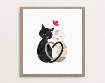 Cute Love Cats Heart - Art Print, Valentine Gift, Love Print, Cat Lovers Art Print, Home Decor Wall Art, 8x10, 16x20, 20x30, Poster Print