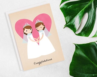 Pink Heart Lesbian Wedding Congratulations Card