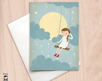 Thinking of You Card, Missing You Card, Moonlight, Dreamy Card, Bohemian Blank Card, Card for Her, Sweet Dreams, I Love You Card, Blank Card