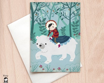 Polar Bear Express - Blank Christmas Greeting Card