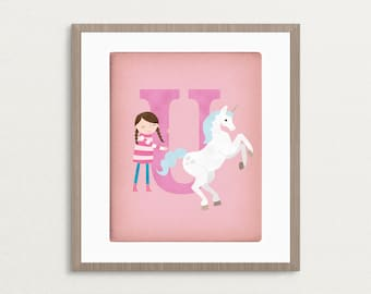 U is for Unicorn - Customizable 8x10 Alphabet Art Print