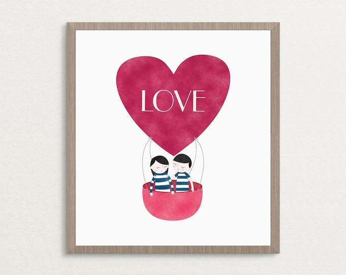 Featured listing image: LOVE Hot Air Balloon - Art Print, Valentine Gift, Love Print, Wedding Gift Art Print, Home Decor Wall Art, 8x10, 16x20, 20x30, Poster Print