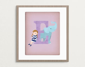 E is for Elephant - Customizable 8x10 Alphabet Art Print