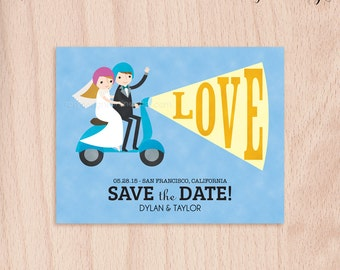 Custom Bride & Groom Moped Wedding Save the Date Card - Postcard