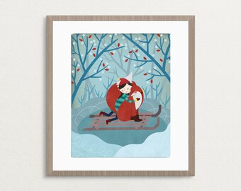 Girl & Fox - Warm Winter Hug - 8x10 Archival Art Print