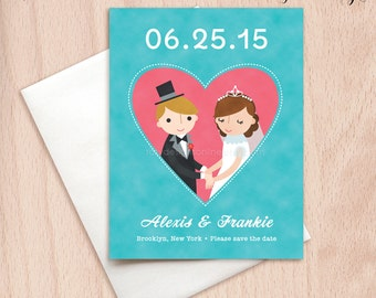Custom Bride & Groom Wedding Save the Date Cards - Pink Heart Postcards