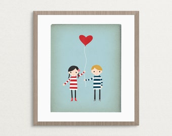 Love Print, Love Is In The Air, Kids Valentines Gifts, Unique Valentine Gift, Brother Sister Print, Cute Love Gifts, Valentine Print