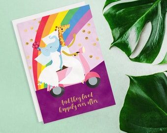 Animals Happily Ever After Lesbian Wedding Card