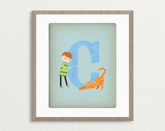 C is for Cat - Customizable 8x10 Alphabet Art Print