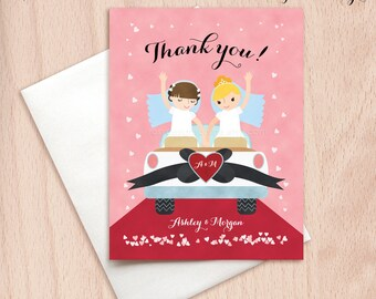 Custom Bride & Bride Wedding Car Thank You Cards - Just Married - Postcards