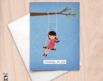 Day Dreamer Girl on Swing - Thinking of You Greeting Card