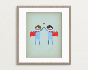 Super High Five - Boys - Customizable 8x10 Archival Print