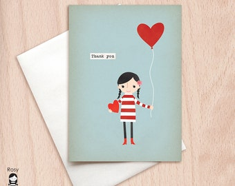 Love is in the Air - Girl with a Red Heart Balloon - Thank You Greeting Card, Thank You Card, Card for Her, Bridesmaid Card