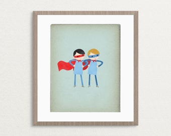 Super Duper Boys - Customizable 8x10 Archival Art Print