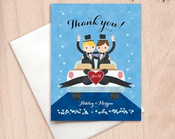 Groom & Groom Wedding Car Thank You Cards - Just Married - Postcards