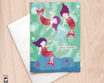 Mermaids - Sisters, Fairy Tale - Birthday Greeting Card