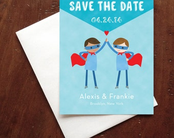 Custom Grooms Gay Super Heroes Wedding Save the Date Card - Postcard