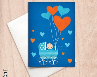 Big Hearts Baby Boy - Congratulations, New Baby - Blank Greeting Card