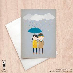 Rainy Day Parisian Girl Rain Shower Birthday Greeting Card Bridal Shower Greeting Card Showering You with Love
