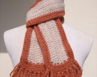 100% Wool Rust & Tan Crocheted Felted Scarf