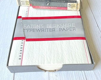 """Vintage Onion Skin Paper - Eaton's Berkshire Eminence Bond - Red Ruled, Black Numbered Folio size 8.5"""" by 13"""""""
