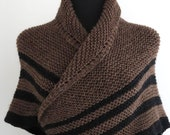 PDF Pattern - BEIGE BLACK - Knitted Wool Shawl