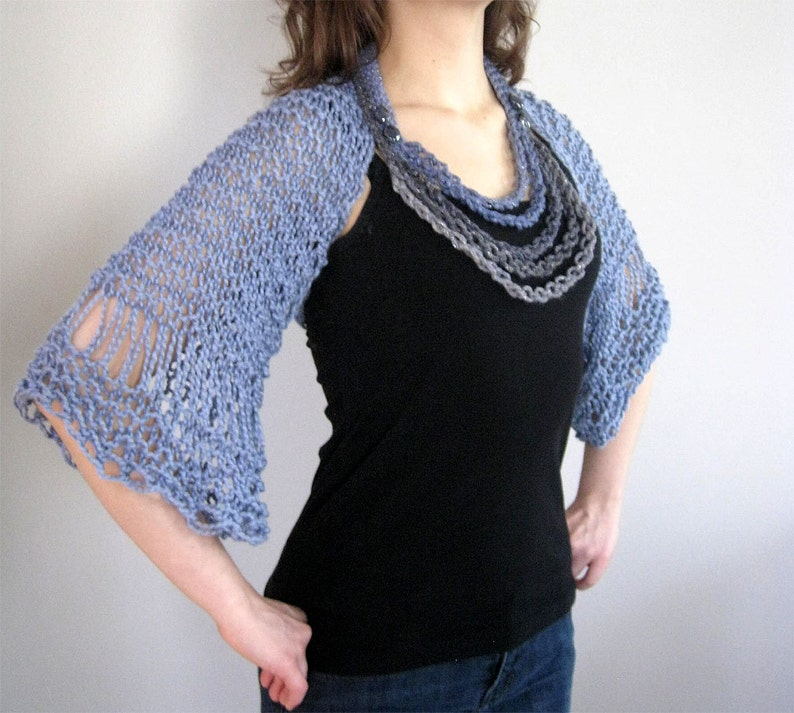 a60baf106837 Organic Cotton Light Dusty Blue Color Lacy Shoulder Shrug | Etsy