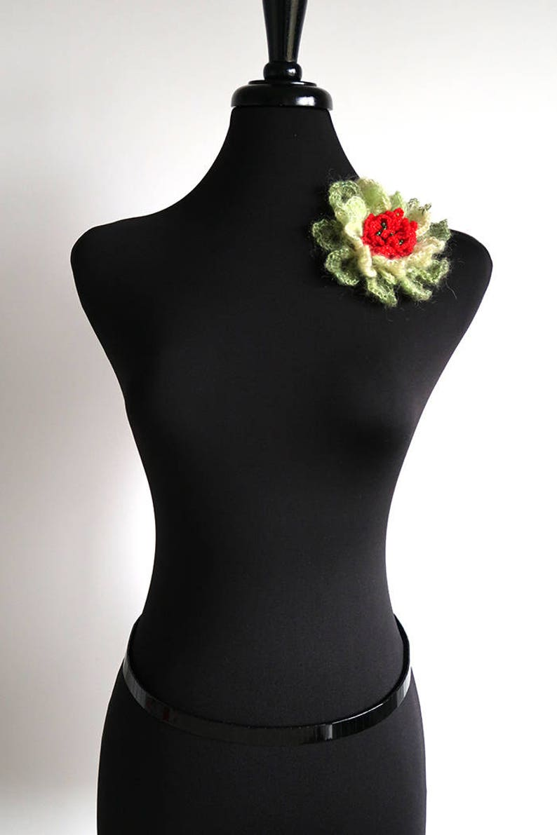 Light Dark Apple Green Red Color Crochet Statement Flower Brooch Shawl Scarf Hat Hair Pin