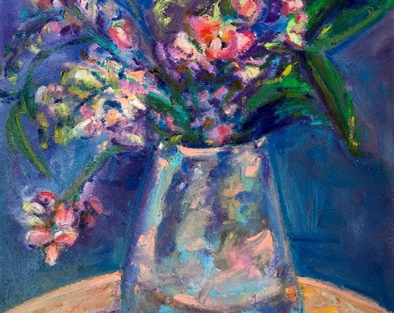 Original Oil Pastel Painting - Impressionist Still Life