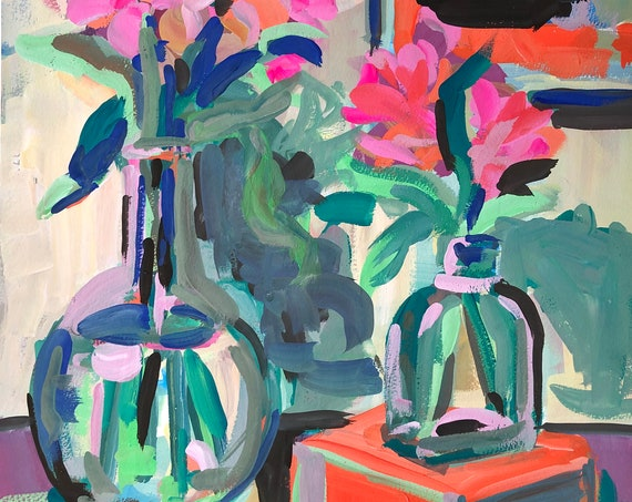 Original Fine Art Painting of Flowers and Vases - Still Life