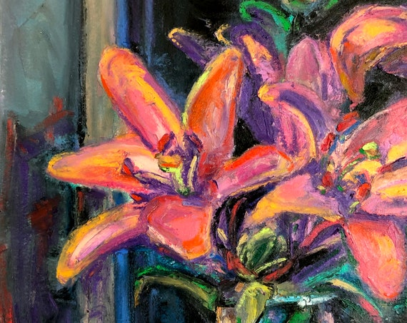 Fine Art Painting of Luminous Lily Flowers - Still Life