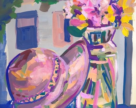 Original Fine Art Painting - Flowers and Straw Hat - Still Life