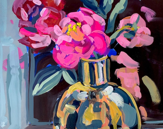 Fine Art Painting of Peonies in Brass Vase - Still Life