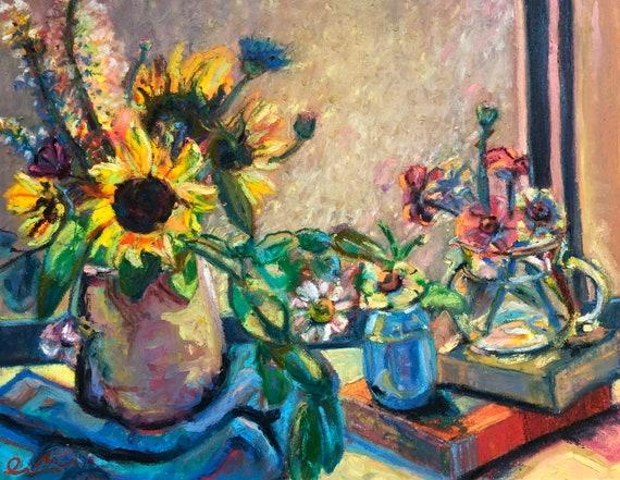 Fine Art Painting of Flowers on Window Sill - Still Life