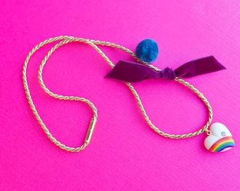 Vintage rainbow heart charm necklace.