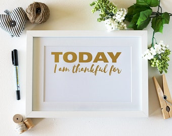 Daily Thankfulness Gold Foil Art Print ~ Framed Gratitude Wall Art ~ Christmas Gift ~ Inspiration Wall Art ~ Gifts for Her