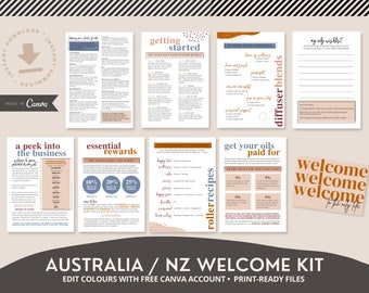 DIY Welcome Kit ~ Australia NZ~ Canva ~ Young Living Starter Bundle ~ New Welcome Pack ~ Diffuser Roller Blends, Recipe Cards ~ YL Oils