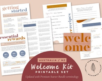 Welcome Kit Printables ~ Young Living Starter Bundle Pack ~ Australia NZ ~  New Welcome Pack ~ Diffuser Roller Blends, Recipe Cards ~ YL Biz