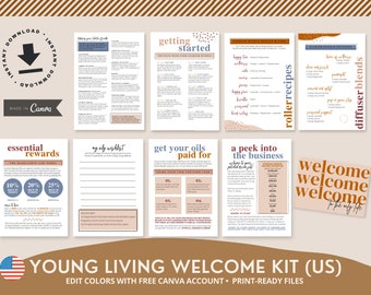 US Welcome Kit ~ Change colours in Canva ~ Young Living Starter Bundle ~ New Welcome Pack ~ Diffuser Roller Blends, Recipe Cards ~ YL Oils