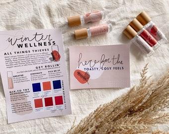 Winter Printable Oils Mail Set ~ Digital Postcard, A5 Recipe Card, Roller Labels ~ Young Living ~ Australia ~ Diffuser Blend Card ~ YL Biz