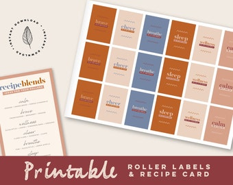 PRINTABLE Roller Bottle Labels Set of 6 ~ Stickers for 10ML Bottles ~ Essential Oil Supplies ~ Rectangular Waterproof Labels ~ Young Living