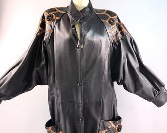 f770f837b88 YSL Yves Saint Laurent 80s Jacket Vintage 1980s Black Leather Snake skin Jacket  Coat 38 bust medium