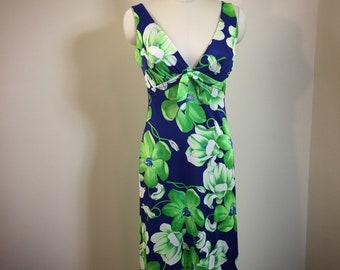 Vintage 60s Dress DeWeese floral Hawaiian beach dress maxi 38 bust Stretchy
