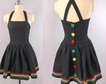 Victoria Horner Henri Bendel 80s Dress Vintage 1980s Black Cotton Sundress small