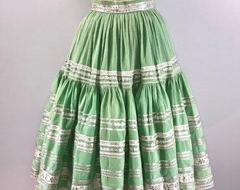 40s Vintage 1940s Full Circle Skirt Mint Green Tiered Silver Metallic 27 Waist