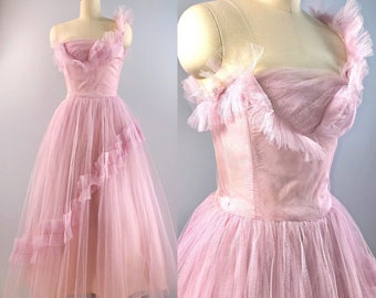 1c932b3485 50s dress   vintage 1950s ethereal Princess Pink Fairy Cupcake Tulle Prom  dress XS 32 bust 24 waist Nipped waist