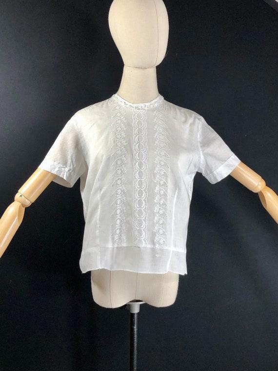 Vintage white cotton batiste and lace top Antique Edwardian blouse 1910s white cotton shirt jacket